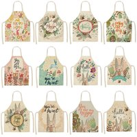 33style Cotton and linen Sleeveless apron kitchen Nordic Erasable hand strap adult apron Lovely rabbit design T2I52086