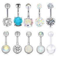 10 kit de kit piercing ventre piercing sexy bijoux de corps navelbell boutons anneaux aaa cristal pour femme