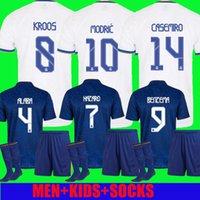 Kit para adultos Jerseys de Madrid Real 21 22 Camisas de fútbol de fútbol Alaba Hazard Benzema Modric Kroos Vini JR Casemiro Camiseta Hombres Calcetines de los niños Conjuntos completos 2021 2022 Fans Player