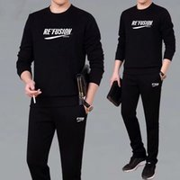 Two-Piece Large Size Casual Sportswear Soccer Suit Young Middle-Aged Long Sleeve Top and Trousers Autumn Winter Set Mens Fashion