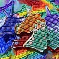 Радужный галстук окрашенный камуфляж настольные головоломки поп пузырь, игрушки для игрушек силиконовые динозавры UnioSorn настольная игра Fidge Toy Pushbles Bubbles Rescreme G4UZL3I