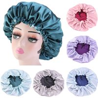 Satin Lace Sleeping Hat Night Sleep Cap Double Layer Adjustable Elastic Hair Care Bonnet Beanies Fashion Shower Caps