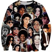 패션 남자 3D 후드 킹 팝 마이클 잭슨 콜라주 패턴 인쇄 힙합 스웨터 / 지퍼 까마귀 유니섹스 streetwear