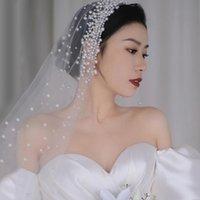 Düğün Gelin Peçe Hiçbir Tarak Sırf Tül Veils Ile İnci Saç Aksesuarları Ile Gelin 1 Katmanlı Parmak Uzunluğu Kesim Kenar
