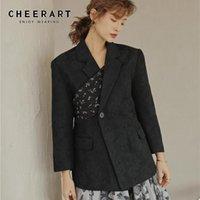붕대 블랙 블레이저 여성 가을 2021 넥타이 백 디자이너 코트 꽃 인쇄 높은 거리 패션 숙녀 옷 여성의 정장 블레이저