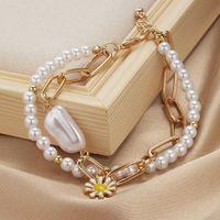 Charm Bracelets Double Layered Daisy Flower Bracelet For Women Irregular Shape Pearl Women's Hand Chain Jewelry Gifts