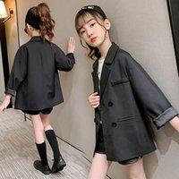 Çocuklar Kız Ceketler Siyah Blazer 2021 Sonbahar Çocuk Dış Giyim 12 Yıl Genç Kız Giysileri Suit Top Çocuk Giyim