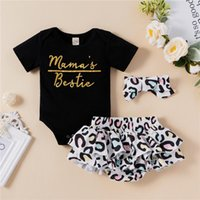 Clothing Sets Born Baby Girls Fashion Outfit Set 3-pieces Summer Letter Print Romper+Leopard Shorts+Headband