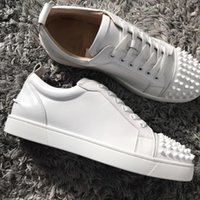 Elegant Designer Junior Sneakers Shoes Brands Red Bottom Skateboard With Strass & Spikes Couple Casual Com Ono Size 5 14 LOUBOUTIN CHRISTIAN