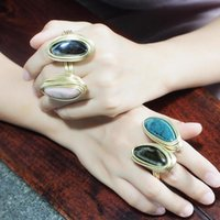 Cluster Rings Ceramic For Women Handmade Metal Wire Statement Finger Accessories Party Wedding Jewelry UKMOC