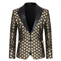 2020 Yeni Tasarım Erkek Şık Trenlis Sequins Kraliyet Altın Siyah Desen Suits Sahne Şarkıcılar Düğün Damat Smokin Kostüm AB Boyutu1
