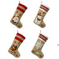 18.8inch Большие рождественские чулки Burlap Canvas Santa снеговик оленей манжеты семейные пакет чулки подарочные сумки для Xmas Holiday Decor BWD8933