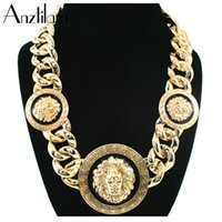 Hip Hop 3 Lion Heads Punk Gold Plated Cuban Chain Pendants Necklaces Statement Girl Jewelry Chokers Collar Drop Chains