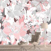 배경 화면 3D 사용자 정의 노르딕 핑크 장미 꽃 거실 여자 벽지 홈 장식 캐비닛 껍질 벽화 롤