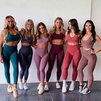 Summer Women Tracksuits 2 Piece Set Knitted Vest Yoga Suit Hip Lifting High Waist Fitness Pants Seamless Sports Bra T670