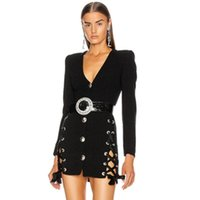 Kadınlar Kış Seksi Uzun Kollu Derin V Boyun Kuşgözü Siyah Bodycon Bandaj Elbise 2021 Zarif Akşam Parti Kulübü Vestidos Günlük Elbiseler