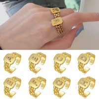 Adjustable Ring 26 Letter Ring Split Ring Hiphop Zircon Square Gold Metal Chain Rings Cool Wide Decorations Jewelry