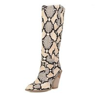 Women Knee High Boots Runway Pointed Toe Winter Warm Motorcycle Boots Python Snake Pattern Chunky Heels Botas Mujer 2020 Fashion1