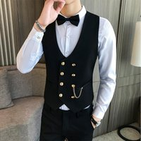 Men's Tank Tops Fit For Dress Party Prom Double-breasted Vest Slim Disco Men Gilet Waiter Mens Male Waistcoat Casual Clothes Tuxedo Homme W