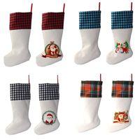 التسامي الجاموس منقوشة عيد الميلاد الجورب 4 ألوان فارغة هالوين الحلوى الجوارب سانتا هدية حقيبة عيد الميلاد شجرة oranment 922 b3