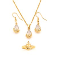 18K Gold GF Pendant Earrings Ring twisted chain Water Drop White CZ Lucency Bridal jewelry sets for Women girl Wedding Party