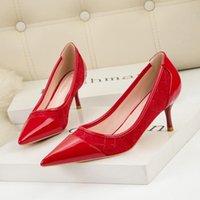 Dress Shoes Mulheres Saltos Altos Women Fashion Comfortable Red Wedding Pu Leather High Heel Lady Casual Heels Zapatillas Mujer