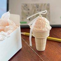 Herramientas de artesanía Cono de helado Molde de vela Coreano Fragancia Silicona Molud Snowball Cera Chocolate