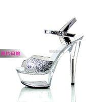 Summer Women's Ultra High Heel Sandals 15 Cm Fine With Waterproof Platform Super Large Size Crystal S