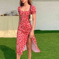 Women Summer Vintage Party Y2K Lady France Style Puff Sleeve Floral Print Square Collar Side Split Midi Dress Vestido