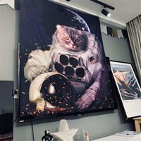 Tapestries Space Astronaut Wall Hanging Tapestry Moon Starry Cat Hippie Mat Blanket Carpet Cover Tapiz Decorative