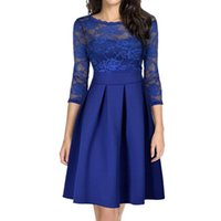 Casual Dresses Women's Solid Lace Stitched 3   4 Sleeve Dress For Women 2021 Elegant Wedding Summer Lady Sexy Sleeveless