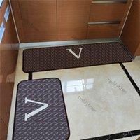 Jacquard Matera de baño Dos piezas Conjunto Alfombra Patrón geométrico Patrón de piso mullido Estera duradera de entrada marrón.