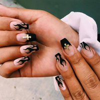 False Nails 24pcs Box Black Flame Artifical Finished Fake With Cross Foreign Design Removable Waterproof Nail Tips