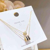 Ожерелье XL61278 Классический дизайн Позолоченные Латунные Женщины Ювелирные Изделия Алмазы Весенние Подвеска Двойной слой Ожерелья