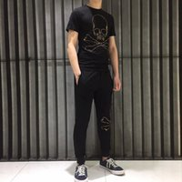 Designer[High quality]Chao brand hot drill PP skeleton simple pure cotton men's and women's T-shirt casual pants bodysuit couple's styleBalencaiga