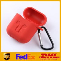Silicone cover 2 in 1 For Apple Airpods Cases Silicone Soft Ultra Thin Protector Airpod Cover Earpod Case Anti-drop With Hook Retail Box DHL Shipping