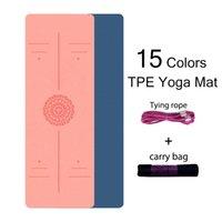 TPE 6mm Principiante Matero antideslizante Yoga Deportes Deportes Almohadilla de ejercicio con línea de posición para el hogar Fitness Gimnasia Pilates Mats