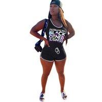 Черные буквы Печать комбинезон женской тонкой подходящего жилета без рукавов шорты комбинезоны Drawstring короткие брюки Rompers One Piece Suit G68ZE4O