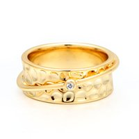 VAROLE Punk Rings For Women With Sparkle Cubic Zirconia Gold Color Minimalist Ring Fashion Jewelry Anillos Mujer Gifts