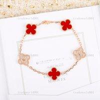Van Cleef & Arpels bracelet Chaînes tendance Bohemian coréen style ajustable Lucky dame avec cristal pierre quatre trèfle bracelet bracelet en feuille de bijoux
