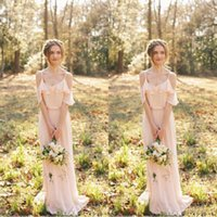 2021 Spaghetti Strap Sexy Blush Pink Chiffon Bridesmaid Dresses Long Bohemian Ruffles Beach Wedding Maid of Honor Maxi Gowns Custom Made Cheap