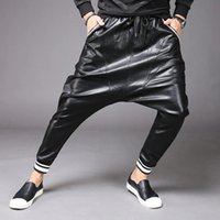 Avant Garde Herren Moto PU Faux Leder Harem Drop Schritt Hosen Jeans Casual Street Dance DJ Rocklacks Hosen M-2XL