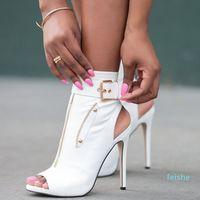 fashion-Handmade Womens Customized Style High Heeled Dress Shoes Buckle Strap Zipper Deco Peep-toe Sexy Evening Party Prom Fashion Elegant C