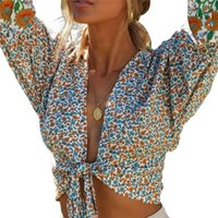 Women's Blouses & Shirts Womens Tops And Vintage Boho Floral Ladies Jumper Long Sleeve Wrap Crop Top 2021 Summer Holiday Fashion Clothes
