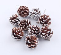 Christmas Decorations 9pc bag Christmas Tree Decoration Pendant Natural Pine Cone Dyed White Paint Ornament w-01172