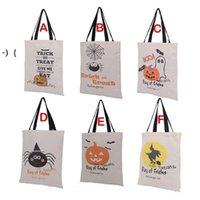 Sacs-cadeaux Halloween Grands Sacs à main en toile en toile de coton citrouille, diable, araignée imprimée Halloween sac sacs RRB10303