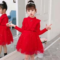 Girls butterfly sequins lace tulle dresses kids Bows tie falbala fly sleeve velvet warm princess dress children christmas party clothing Q2764