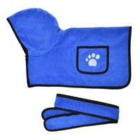 Bathrobe for Dogs Super Absorbent Dog Bathing Suit with 2 Pockets Fast Drying Microfiber Hooded Bath Towel with Belt Blue XS-XL 210430