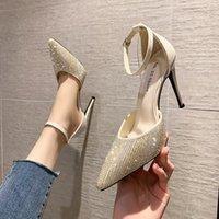 2022 Chaussures Champagne de Prestige Couleur Strass Mode Haute Talons Sandales Mariage Bridemaid Stiletto Heel Robe