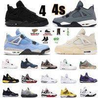 Nike Air Jordan 4 x Off-White AJ4 shoes  4 4S Union Noir Union Guave Ice Jumpman Männer Schuhe Segel Pilz Neon Metallic Lila Basketball Sneakers Black Cat Bred Trainer # 3Y44T #